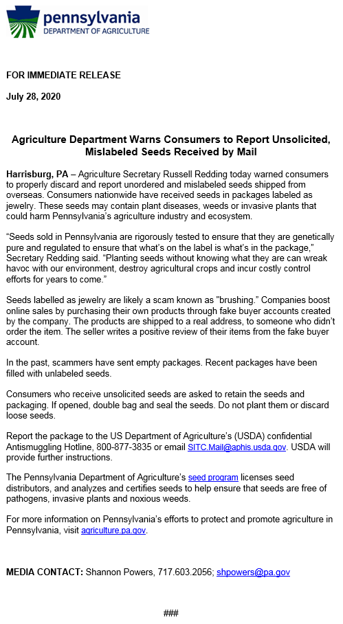 Agriculture Department Warns Consumers to Report Unsolicited, Mislabeled Seeds Received by Mail