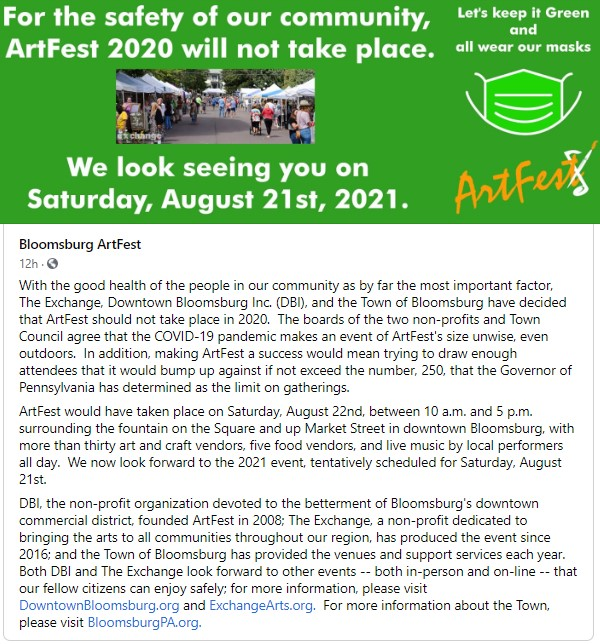 For the safety of our community, ArtFest 2020 will not take place.