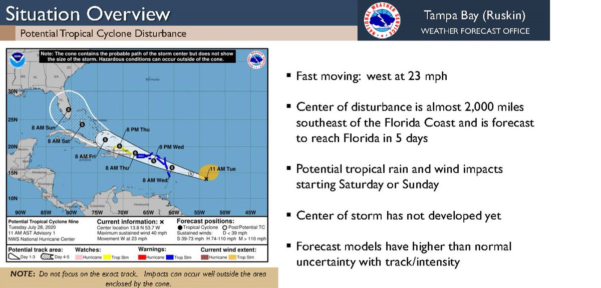 The @NWSTampaBay and @NHC_Atlantic are closely watching PTC-9. Too early to tell exact impacts, but that doesn't mean you shouldn't #prepare . Being #prepared for the worst helps make sure that you aren't caught off guard. Follow the current forecast at