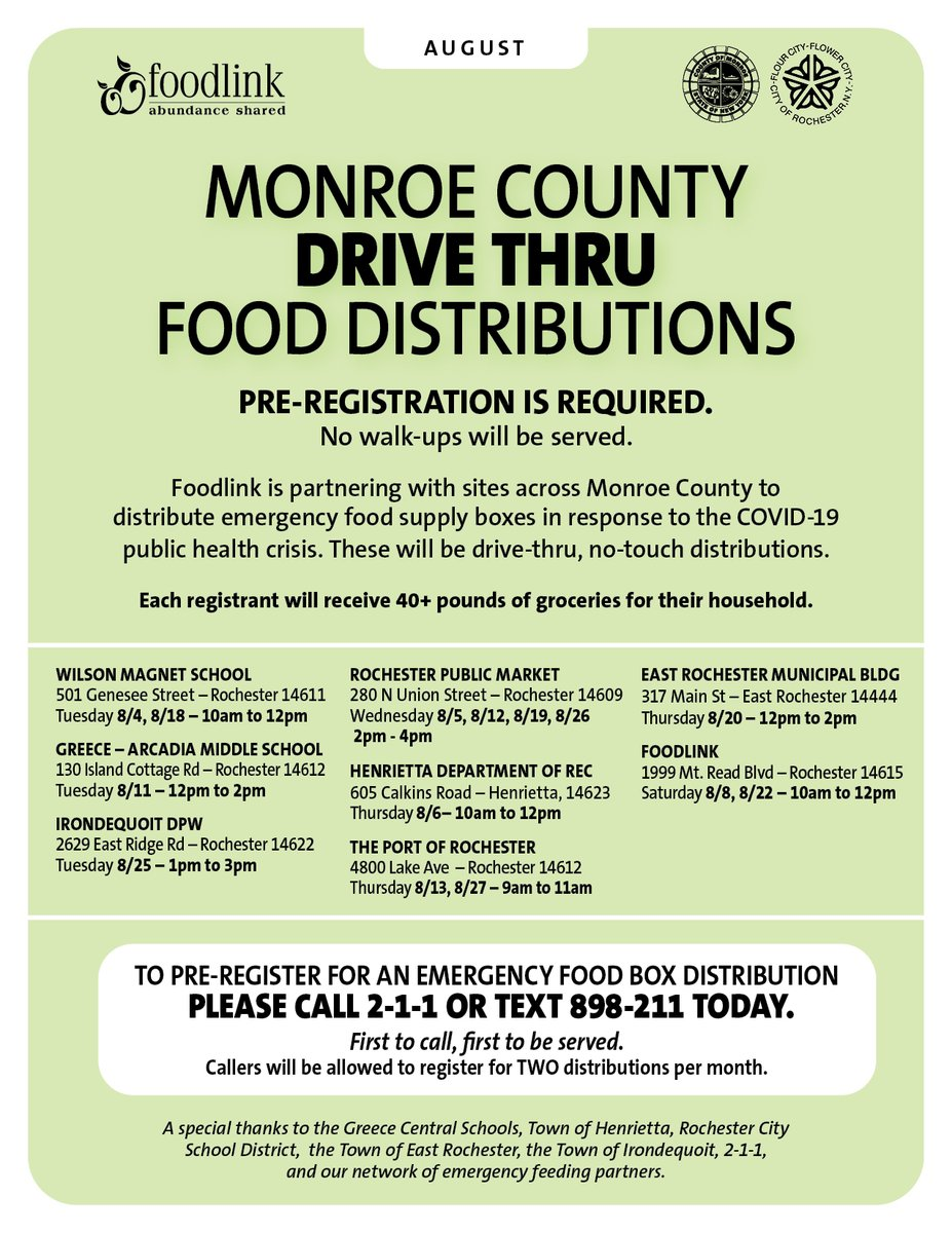 Starting 8/4, Drive-thru food distributions at select sites in #Rochester and Monroe County will continue in the month of August for families who are in need.  Pre-registration is required, so register today by calling 211 or texting 898-211. @FoodlinkNY @CountyExecBello