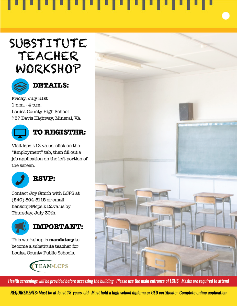 SPREAD THE WORD: Substitute Teacher Workshop coming up on Friday!