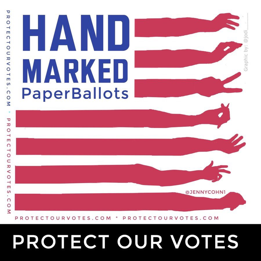 If you vote in person, request to vote with a ball point pen, ie, a #HandMarkedPaperBallot (HMPB) rather than a touchscreen, as most experts agree that HMPBs are more reliable and secure. (Voters w/ disabilities who are unable to hand mark are an exception to this advice.) 3/