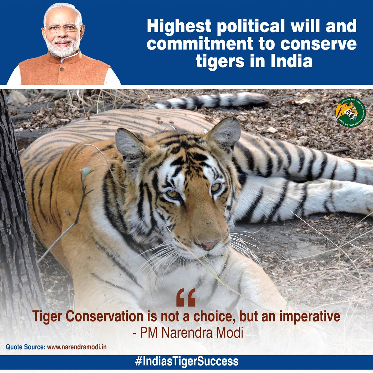 Home to 70% of the global tiger population, India's efforts towards tiger conservation have yielded unprecedented results in last 6 years. #IndiasTigerSuccess under PM @narendramodi Ji's leadership, reflects Govt's resolve to ensure our pride - our National Animal keeps roaring🐅