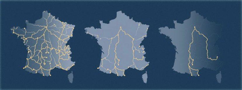 ➡️ L'évolution des lignes de train 🚆 de nuit 🌒 en France 🇫🇷 entre 1981, 2010 et 2020  @GroupeSNCF @ouisncf  Credits : AWA SANE / @FRANCEINFO