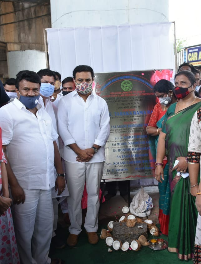 Ministers @KTRTRS and @YadavTalasani laid the foundation stone for construction of a two lane Road Over Bridges (ROB) as an expansion of carriageway at Fathenagar flyover.