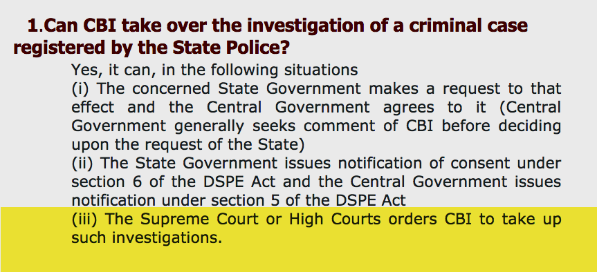 @Swamy39 If this condition from #CBI Faq is true that:  The High Court and the Supreme Court have the power to override State Police and Government's stubbornness not let go of the case over to CBI. Can't wait to see @ishkarnBHANDARI do Smthing about this? #Dhara302forSSRCulprits @Swamy39