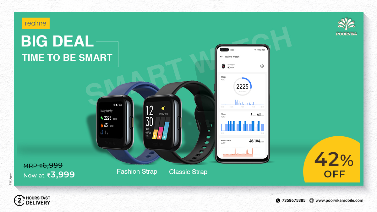 Avail 42% OFF on #RealmeWatch at #PoorvikaMobiles. Order your Fitness Partner Now and Get it Delivered in 2 Hours* . Shop now :  . #Activitytracker #Heartratemonitor #Smartwatch #Fitness #Shoponline #Discount #Deals #Offfers