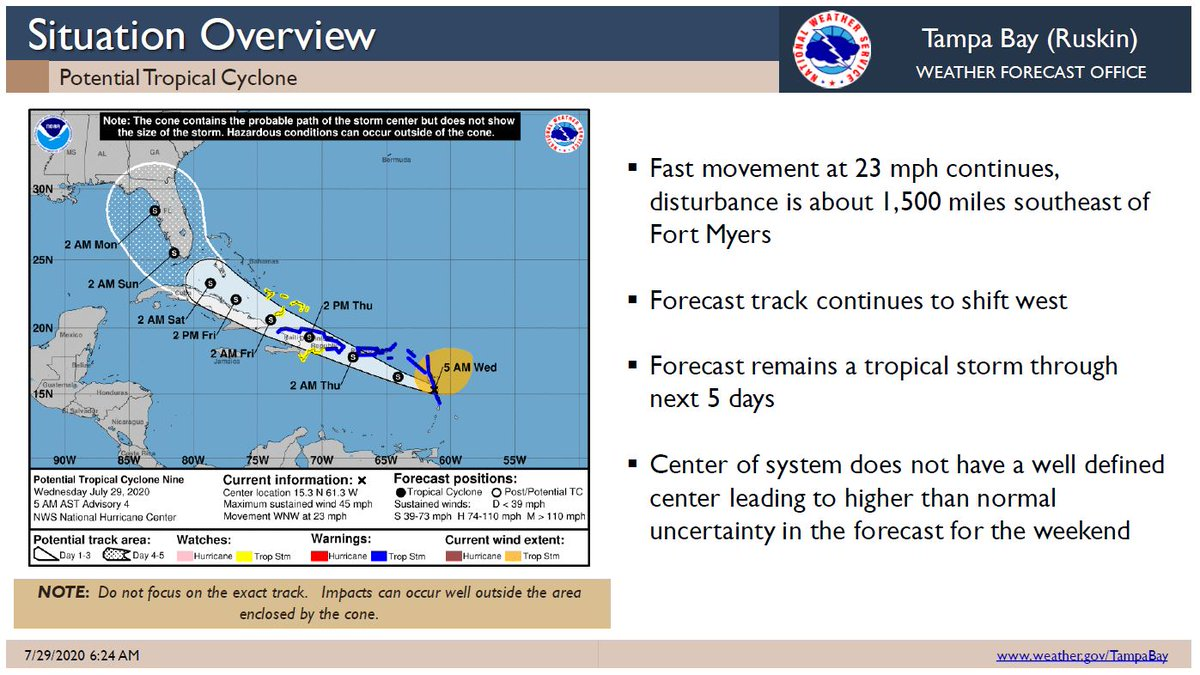 PTC 9 has shifted west, but is expected to be TS Isaias today. Long range track/forecast still uncertain because it  doesn't have a defined center. #LevyCounty should #prepare for high winds, heavy rain, and power outages. Make sure you follow @NWSTampaBay for the latest updates