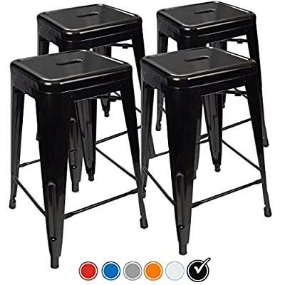 UrbanMod 24″ Stool Set of 4 by Distressed White Rustic Bar Stools -Counter...