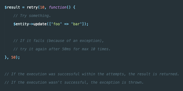 🔥 Here's another #laravel helper tip. It's a highly underestimated helper which exists since Laravel 5.4 in my eyes. Use `retry()` with max attempts and a threshold to try sth again.  You can use it for external requests if the endpoint is down in that specific millisecond. https://t.co/9lPeiGoq6T