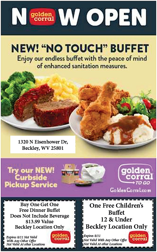 What's for dinner?  How about these dinner options & coupons from Golden Corral Buffet & Grill (1320 N. Eisenhower Drive #BeckleyWV  #SouthernWV  #NewRiverGorge  #WhatsForDinner  #Coupons