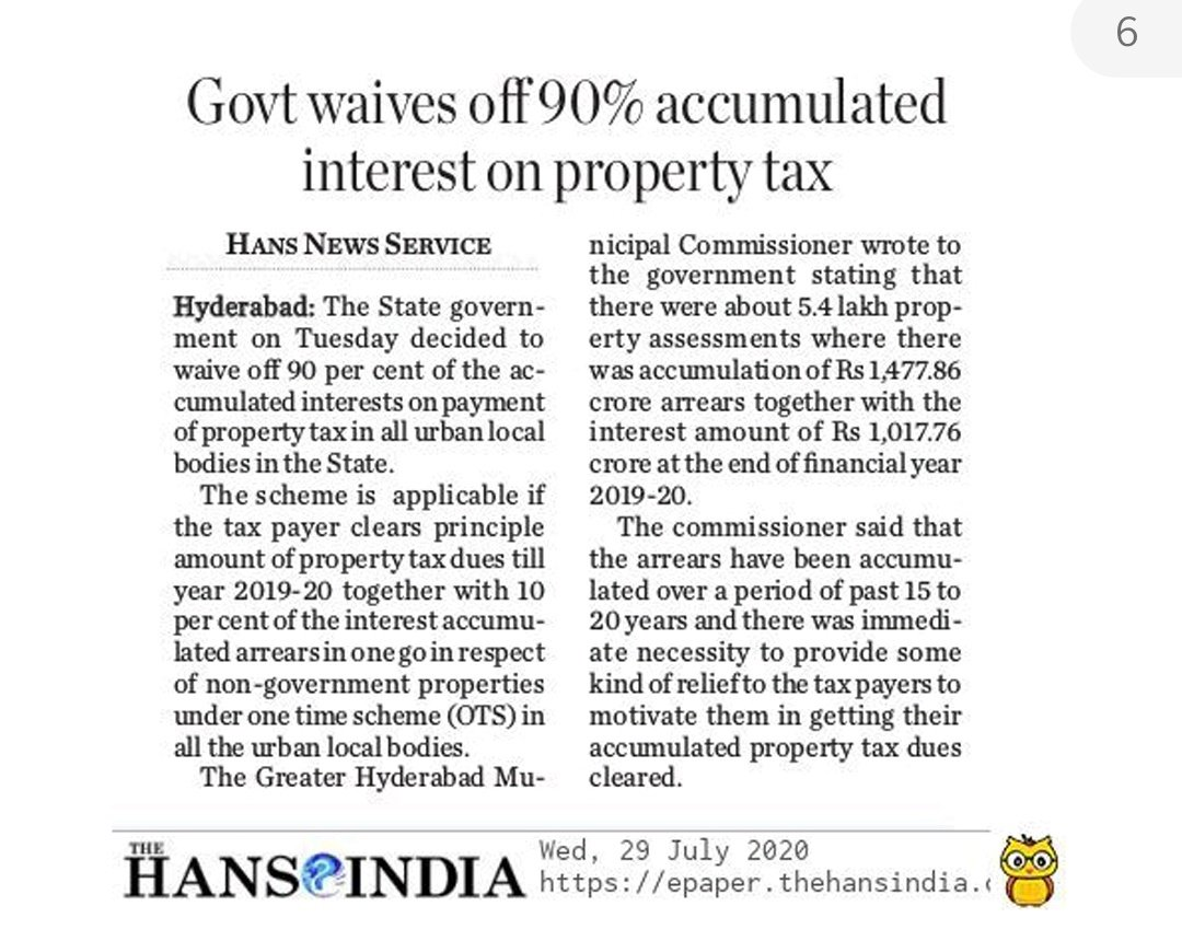 One Time Settlement (#OTS) Scheme announced by #TSGovt for citizens to clear #PropertyTax dues. Pay only Principal + 10% of accumulated Interest. Waiver of 90% of accumulated Interest Effective: 1st Aug to 15th Sep,2020 @arvindkumar_ias