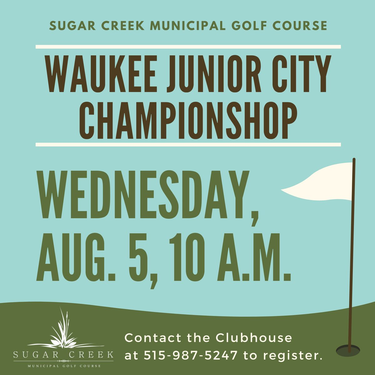 The Waukee Junior City Championship is in week! You can register for this tournament by calling the Sugar Creek Clubhouse at 515-987-5247.