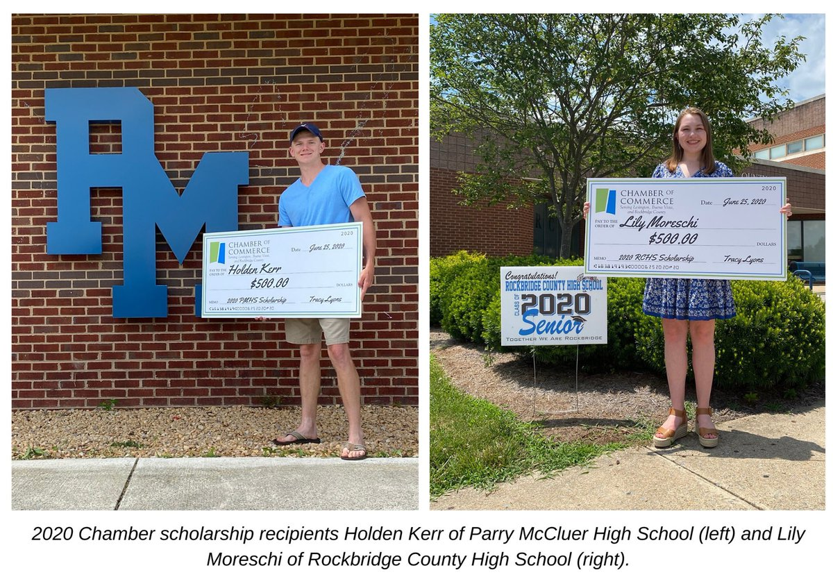 #ChamberNews 🎓 We are pleased to announce the recipients of our 2020 PMHS and RCHS scholarships! Congratulations! We wish you all the best!  Parry McCluer High School: Holden Kerr Rockbridge County High School: Lily Moreschi  Read the press release: