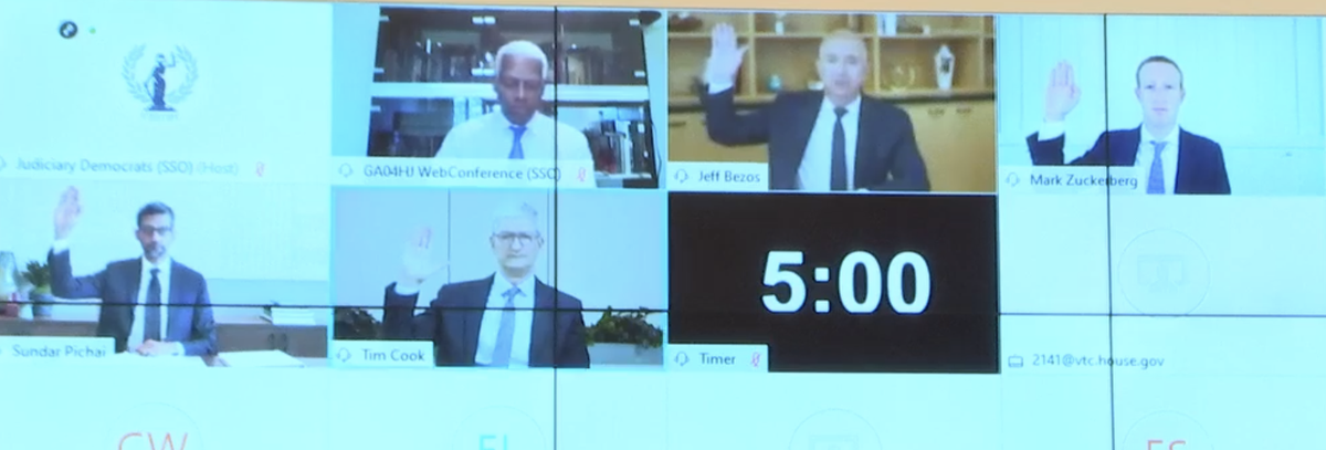 Momento histórico. CEOs Amazon, Apple, Google e Facebook prestando juramento antes dos depoimentos.