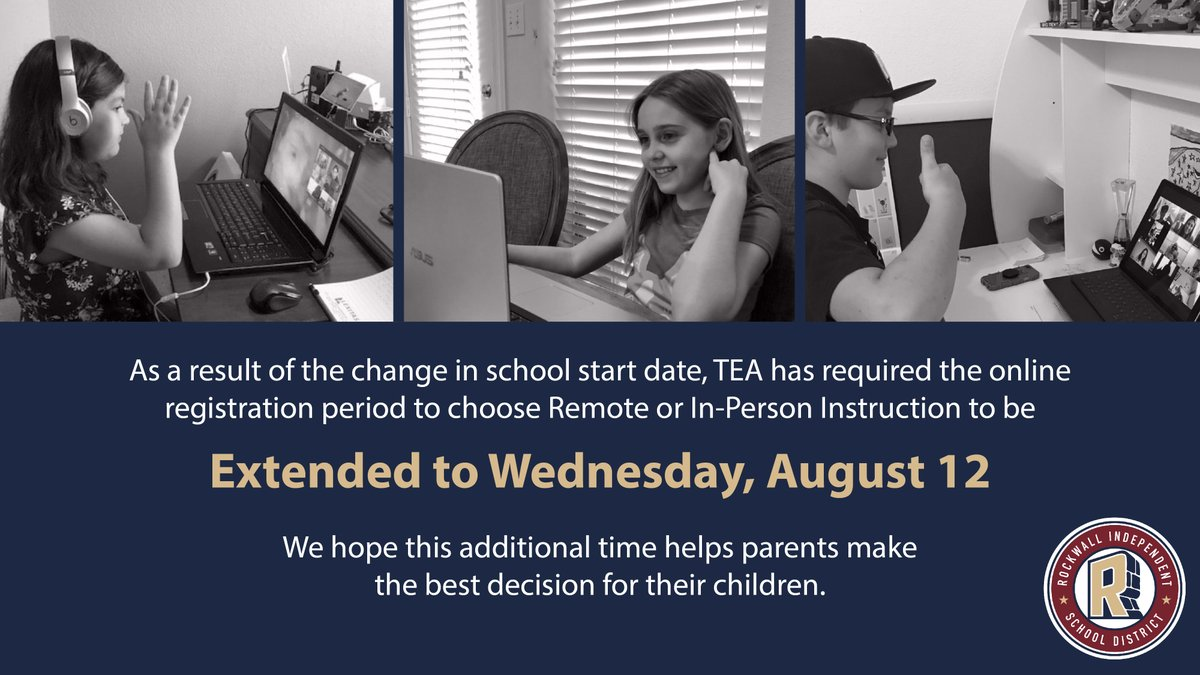 As a result of the change in school start date, TEA has required the online registration period to choose Remote or In-Person Instruction to be extended to Wednesday, August 12.   Skyward >>  FAQ >>