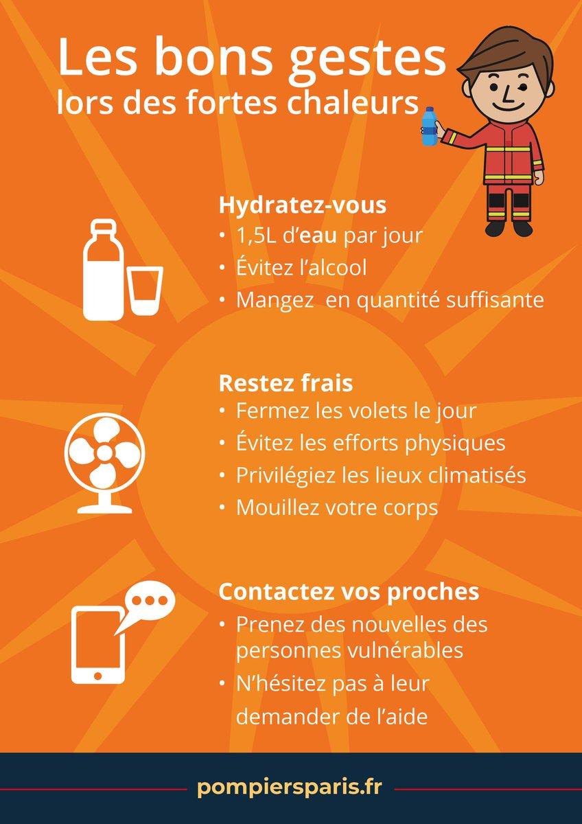 #canicule ⚠️  #Conseils de l'été de la BSPP face aux fortes chaleurs !! Les températures sont en hausse, soyez vigilants : 🥛 Pensez à vous hydrater  💦 Maintenez votre habitation au frais ⛱️ Évitez les efforts physiques 😓 Portez attention aux personnes vulnérables 👶👴