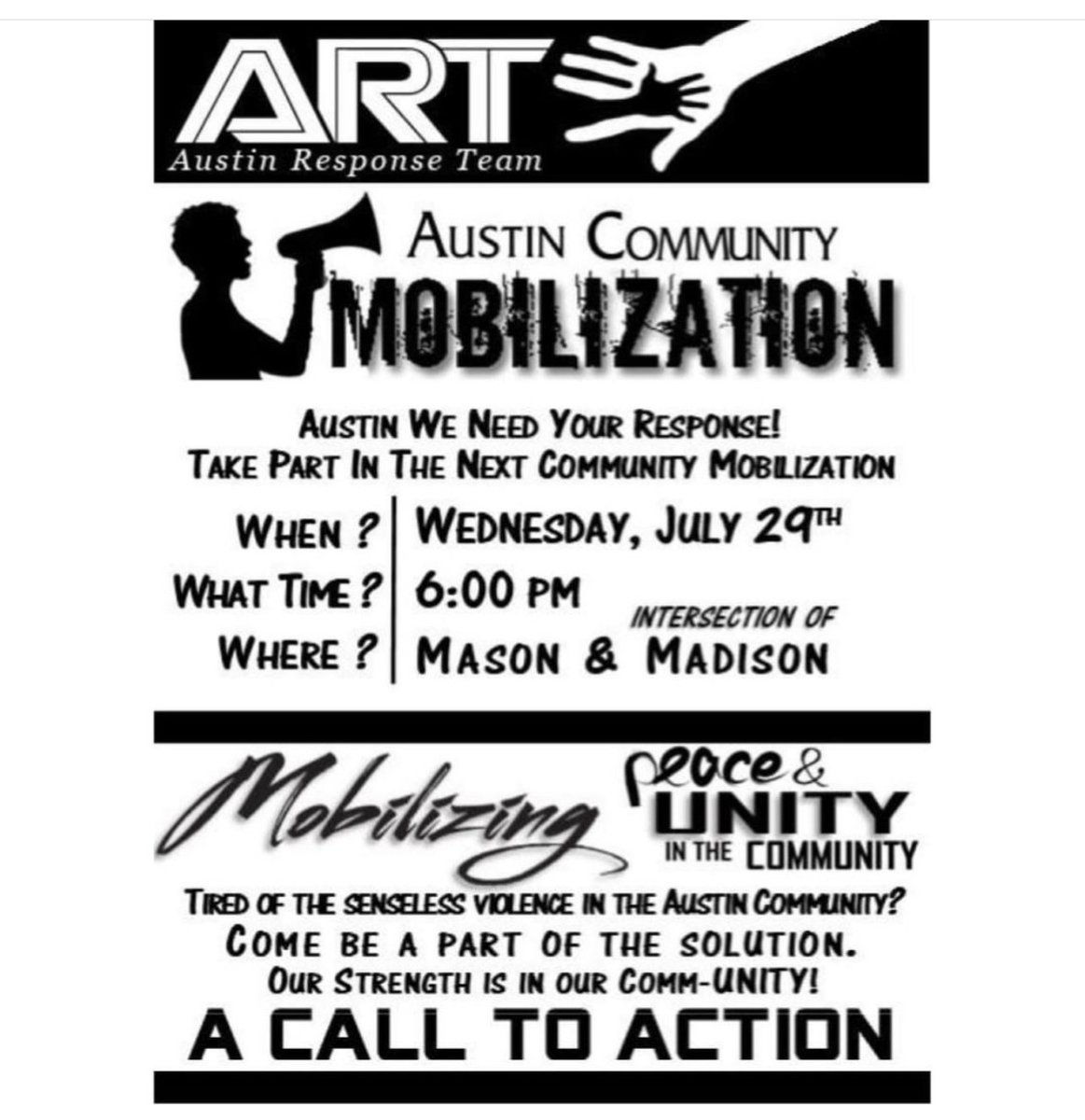 Today @ChicagoCAPS15 with Austin Response Team (ART) hosted The Austin Community Mobilization at Mason & Madison. Area 4 Cart Team, #1STV @jr_bady, @CCSOPIO, @cookcountysao, Summer Mobile,& other community stakeholders all assembled for mobilizing peace & unity in the community.