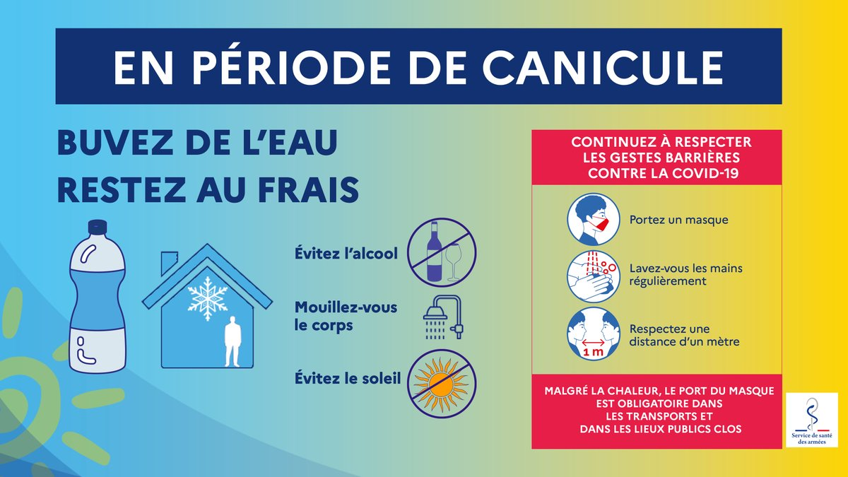 [#ÉtéSansSouci] Les vacances ont débuté 🌞. Voici quelques #conseils pour vous protéger de la #chaleur. N'oubliez pas l'importance des #GestesBarrières que nous devons tous continuer à appliquer !
