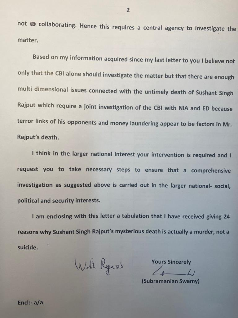 Dr @Swamy39 letter to PM Modi today-  Mentions reasons why Dr Swamy thinks mysterious death of Sushant Singh Rajput is murder.