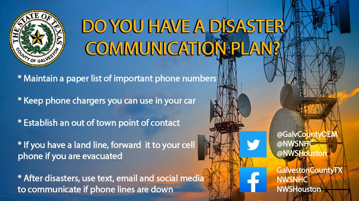 Storms can wreak havoc on communications.  Do you have a plan to get vital information to friends and family when primary communication channels are unavailable?  For more info go to:  #GalvCoPrepares @GalvCoTx