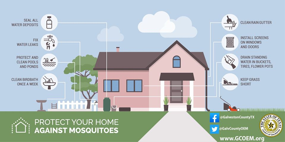 Galveston County's Mosquito Control Department actively monitors mosquito activity and works diligently to maintain a countywide spray schedule to reduce the prevalence of the insects.  If you have questions or would like to request a spray, you can visit
