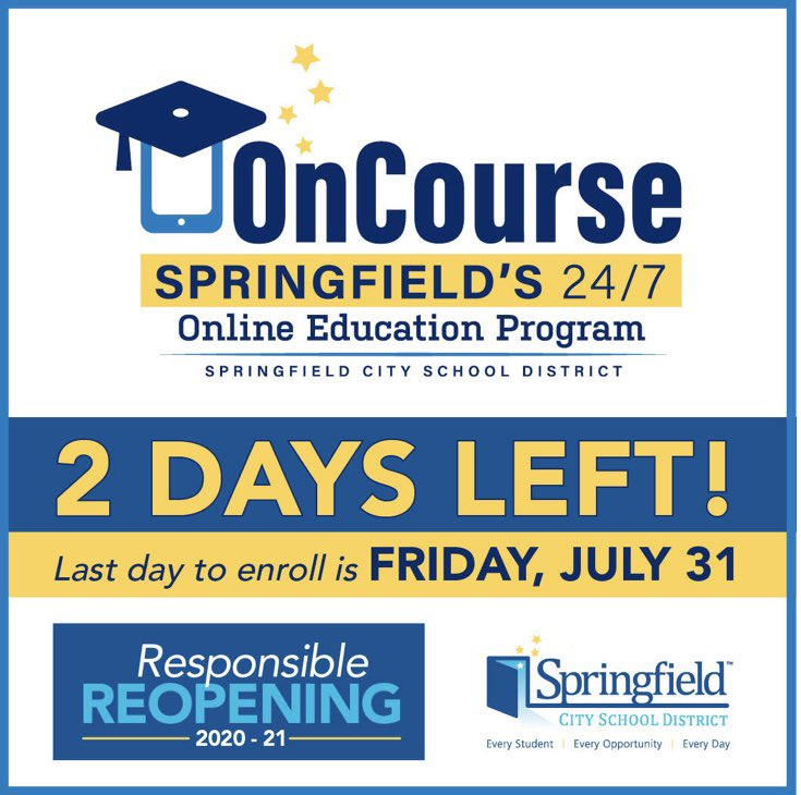 Only 2 days left to sign up for the OnCourse Virtual Learning Option for first semester of the 2020-21 school year. Please visit the link below.   No additional action is needed at this time for students returning for the in-school option.