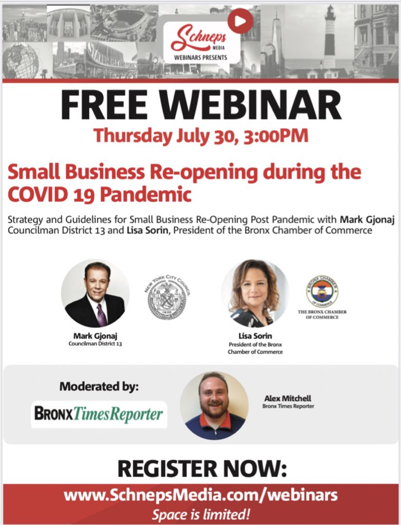 Strategy and Guidelines for Small Business Re-Opening Post Pandemic with @MarkGjonajNY  Councilman District 13 and Lisa Sorin, President of the Bronx Chamber of Commerce  Moderated by Bronx Times Reporter Alex Mitchell  REGISTER HERE: