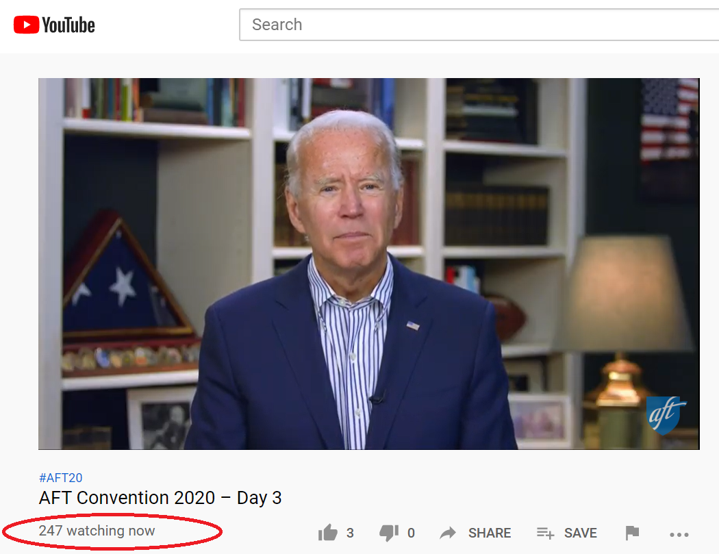 247 people are watching Joe Biden attempt to read the teleprompter in his basement