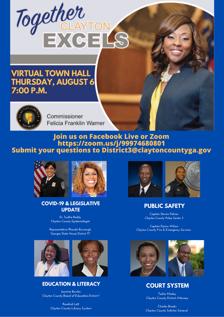 Join Clayton County District 3 Commissioner, Felicia Franklin Warner as she highlights issues and concerns facing Clayton County and District 3 with opinions from experts, panelists, and guests.