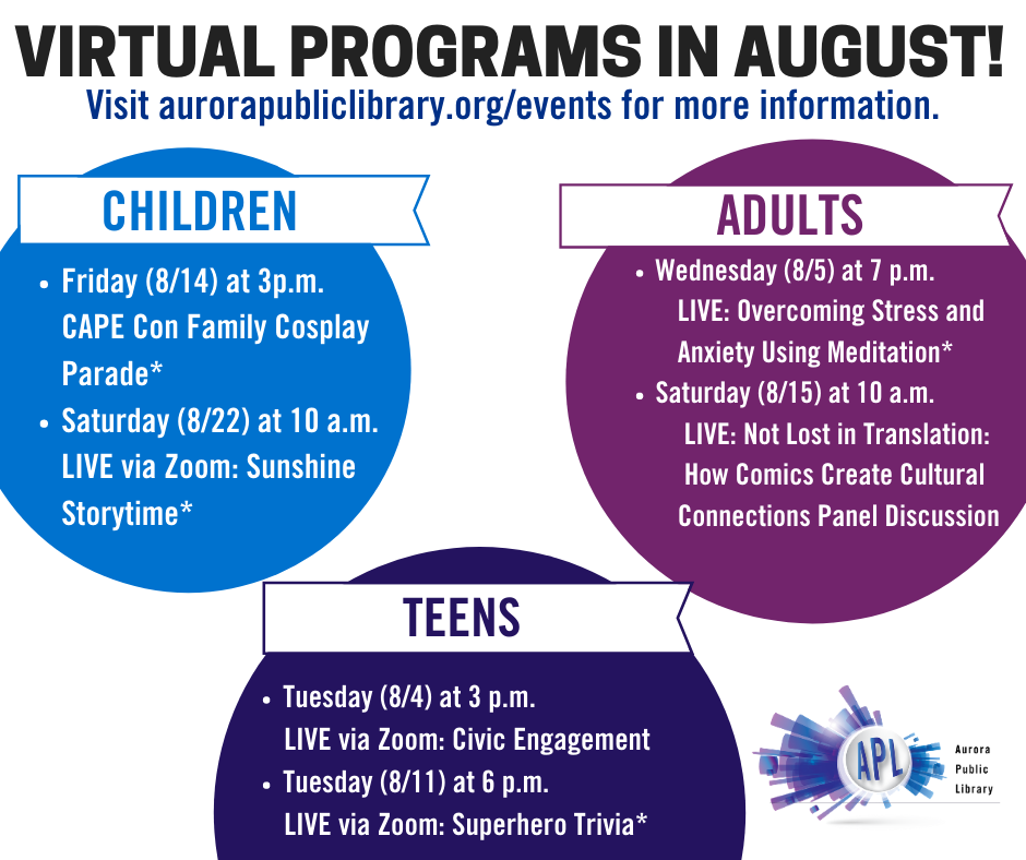 August is just around the corner and we have some virtual programs you don't want to miss! Save the date and don't forget to share our post!  #APLibraryIL