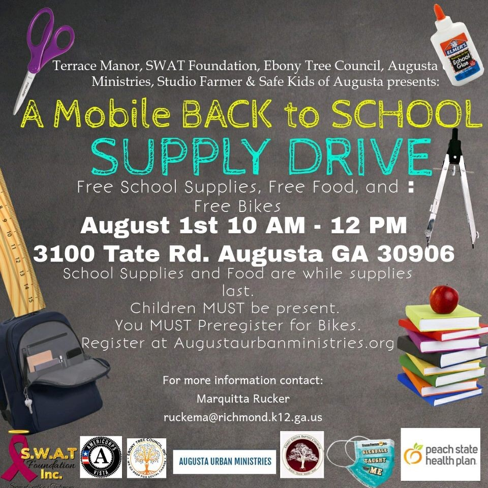 If you have time tomorrow, stop by and enjoy this Back to School Supply Drive! 📙✏️