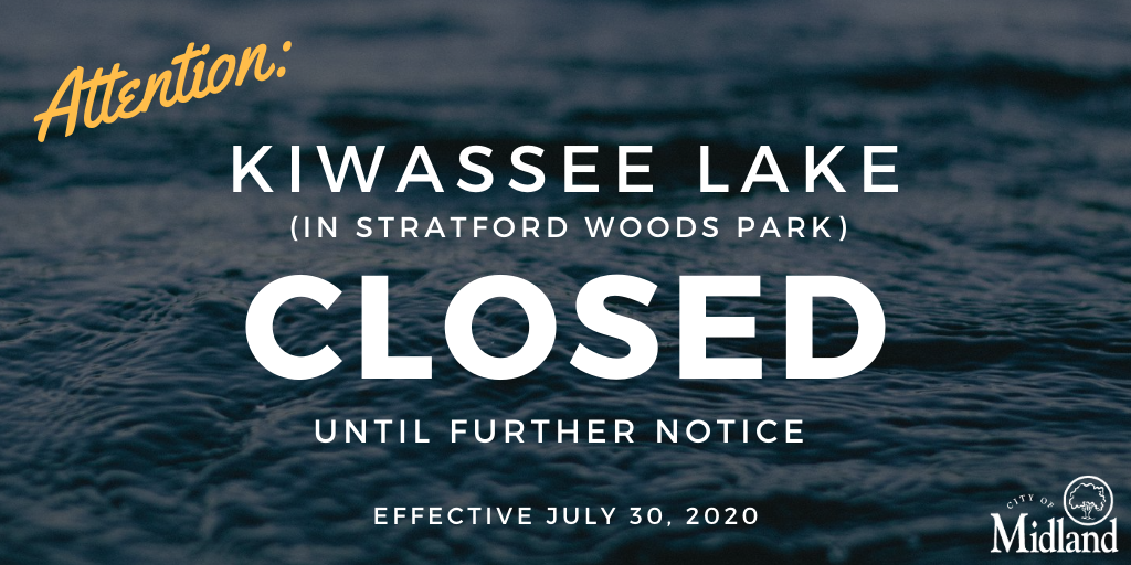 SERVICE ALERT: Due to high bacteria levels recorded during a routine water sampling test yesterday, Kiwassee Lake in Stratford Woods Park will be closed to swimming, wading & fishing until further notice. A follow-up test will be conducted in a few days.