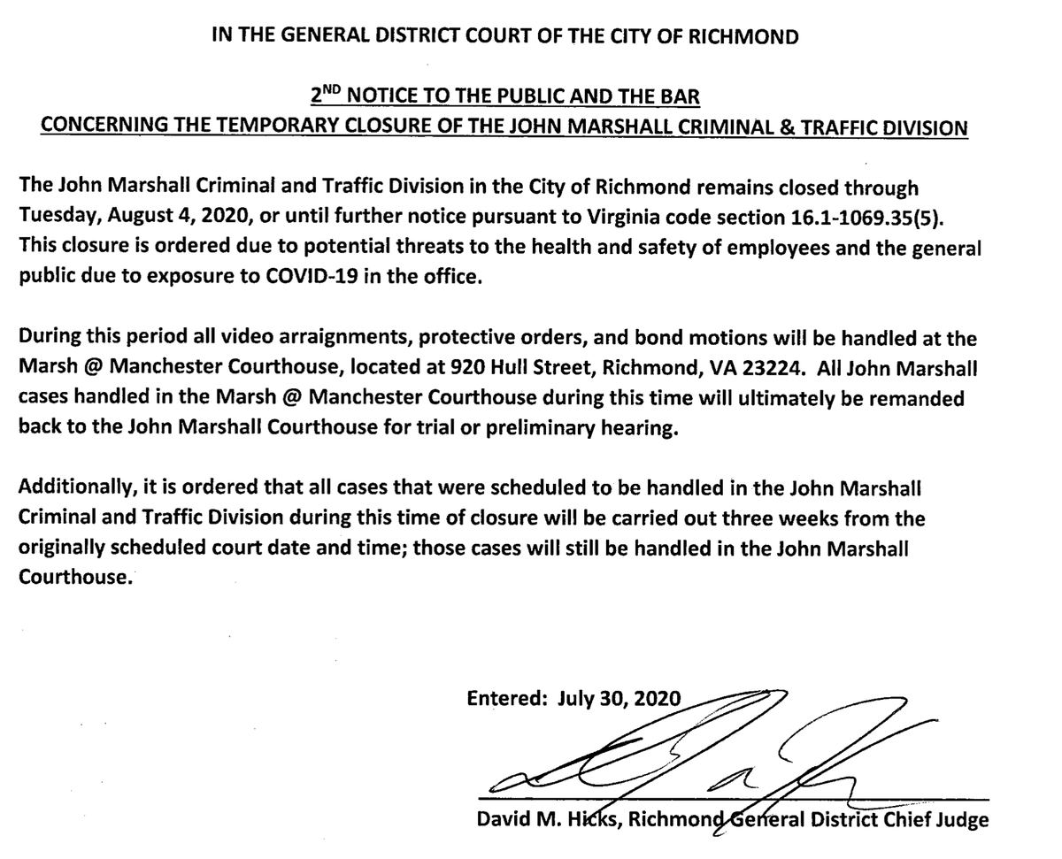 CITY SERVICES CHANGE: The CRIMINAL and TRAFFIC divisions of the John Marshall Courthouse will be closed through August 4, according to an order by Judge Hicks. Operations in the Civil and Circuit Court divisions will proceed as usual. See the order below for more information.