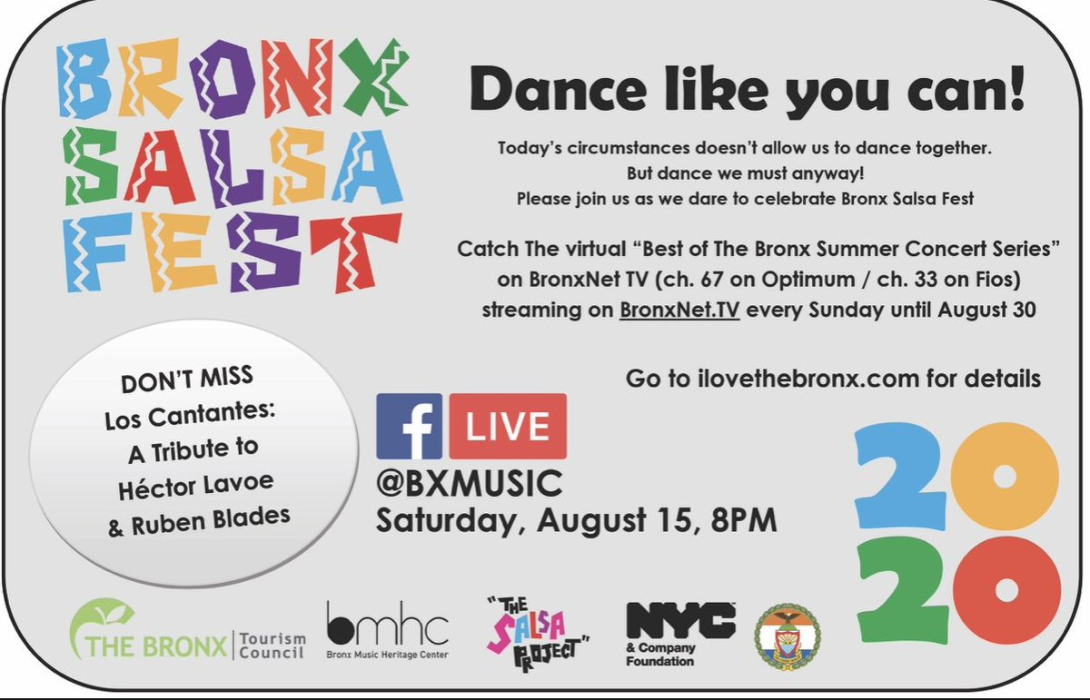 Dance like you can! And don't forget A Tribute to Héctor Lavoe and Rubén Blades August 15th @ 8pm