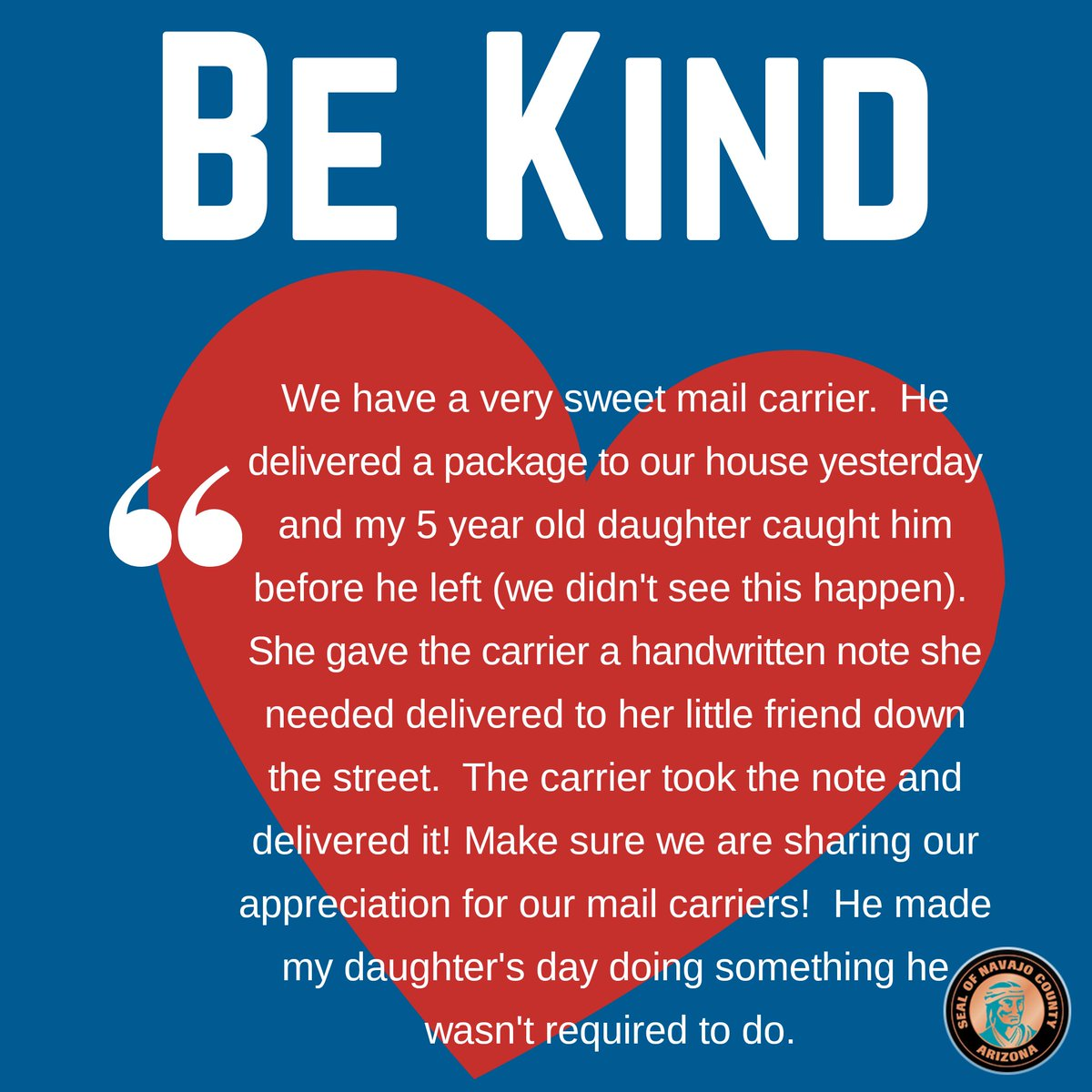 🏋️‍♂️ This mail carrier deserves all the love! We're loving the kindness stories coming our way! 🤝 Have you witnessed a random act of kindness lately? We'd love to hear about it! Direct message us!  #NavajoKindness