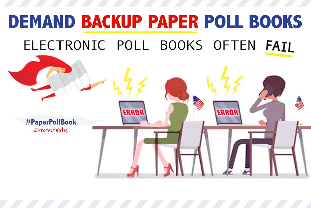 Voters & election-integrity groups shld also contact county election officials & demand backup #PaperPollBooks  for in person voting on Election Day bc electronic pollbooks often connect to WiFi or blue tooth & are prone to failure & hacking. 13/