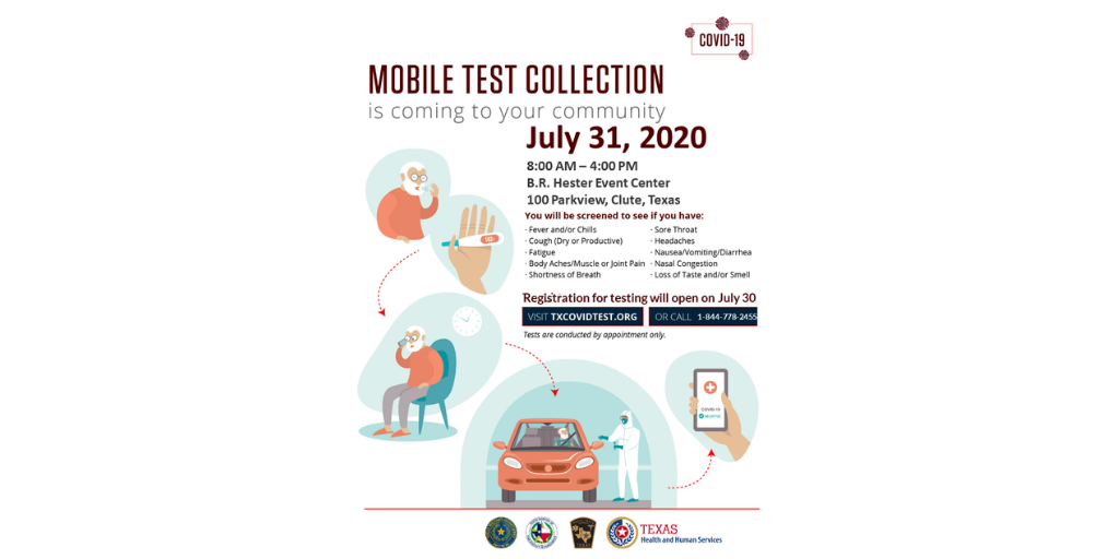 FREE mobile #COVID19 testing will be available at B.R. Hester Event Center in Clute on Friday, July 31st. Tests will be conducted by appointment only.  Appointment registration opens today July 30. To register, visit   or call 1.844.778.2455.