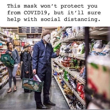 Wearing this mask may be a perfect way to maintain the recommended 6-foot social distance!  Remember to wear your face mask when out in public! 😷