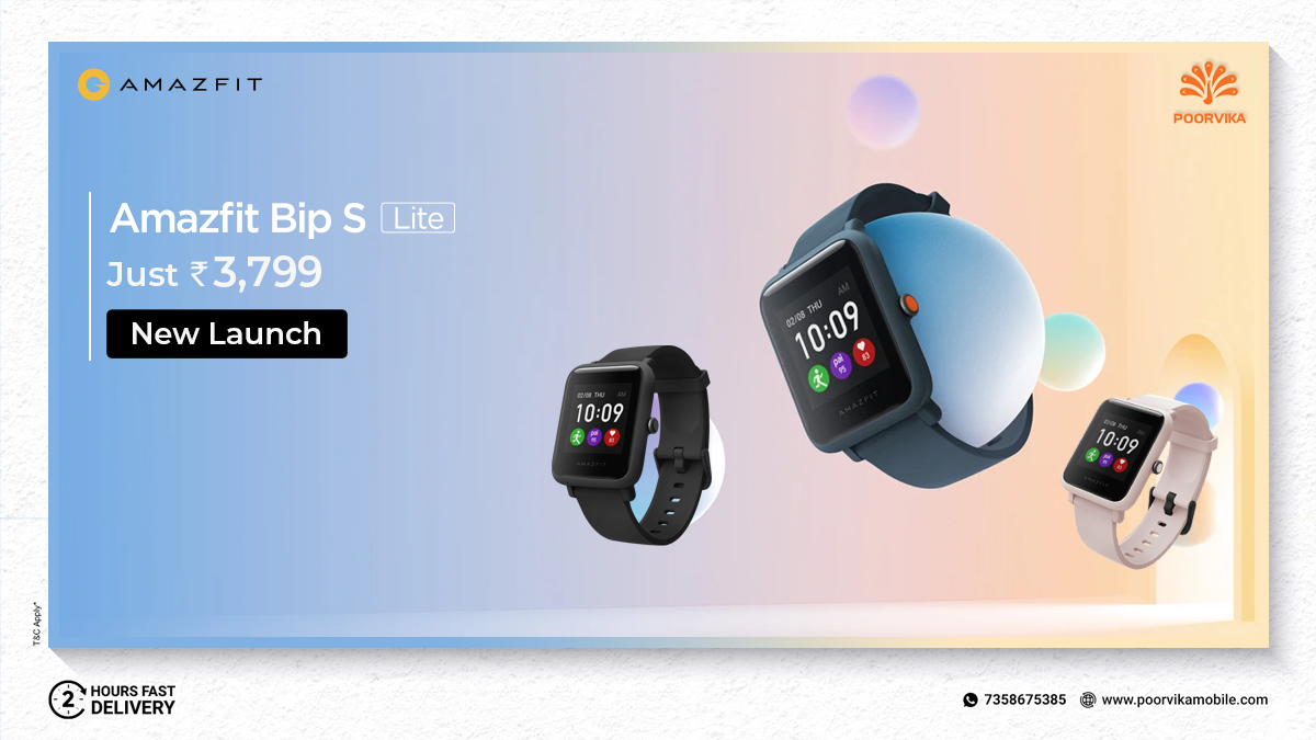 Shop the Ultra-Comfort #AmazfitBip S-Lite Smartwatch to Track your Fitness, with 30 days of Battery life. Order Now & Get it in 2 Hours*.   Shop now:  @AmazfitIndia   #Amazfit #Poorvika #Poorvikamobiles #Fitness #Shoponline #Discount #Offfers #Cashback