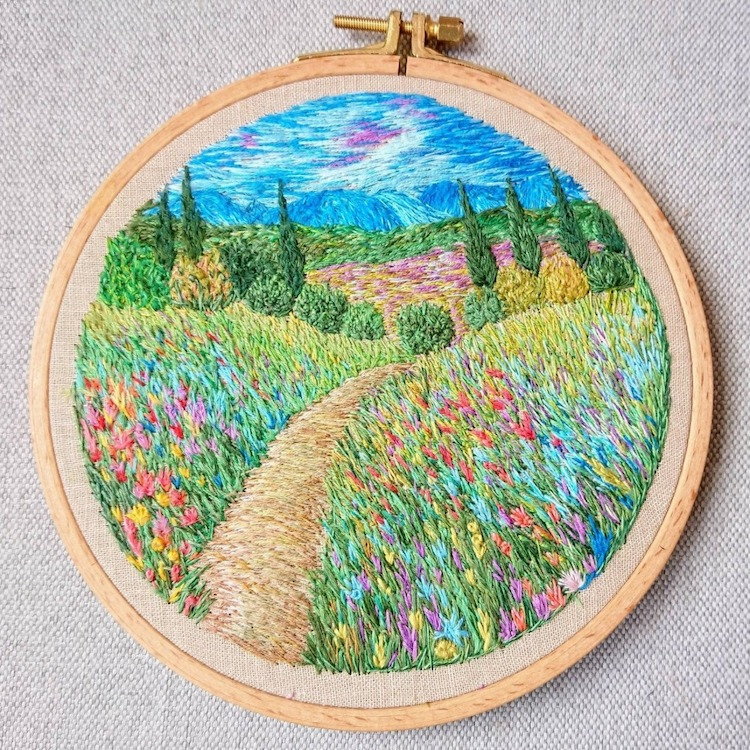 Ukrainian textile artist Ludmila Perevalova stitches colourful embroidery designs that look like landscape paintings inspired by Impressionists #womensart