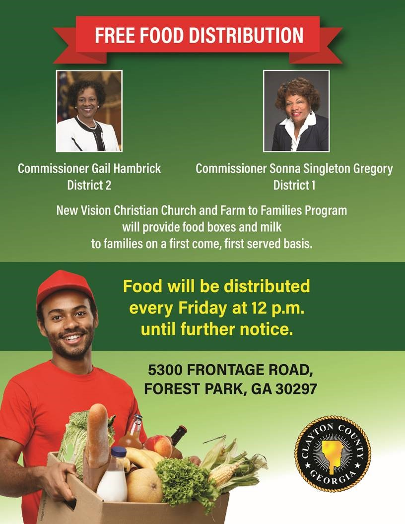 Clayton County Commissioners Sonna Singleton Gregory and Gail Hambrick, New Vision Christian Church & Farm to Families Program providing #FREE #food and milk today, 7/31/20 AND EVERY FRIDAY at 12 p.m. until further notice at 5300 Frontage Rd., Forest Park, GA 30297.