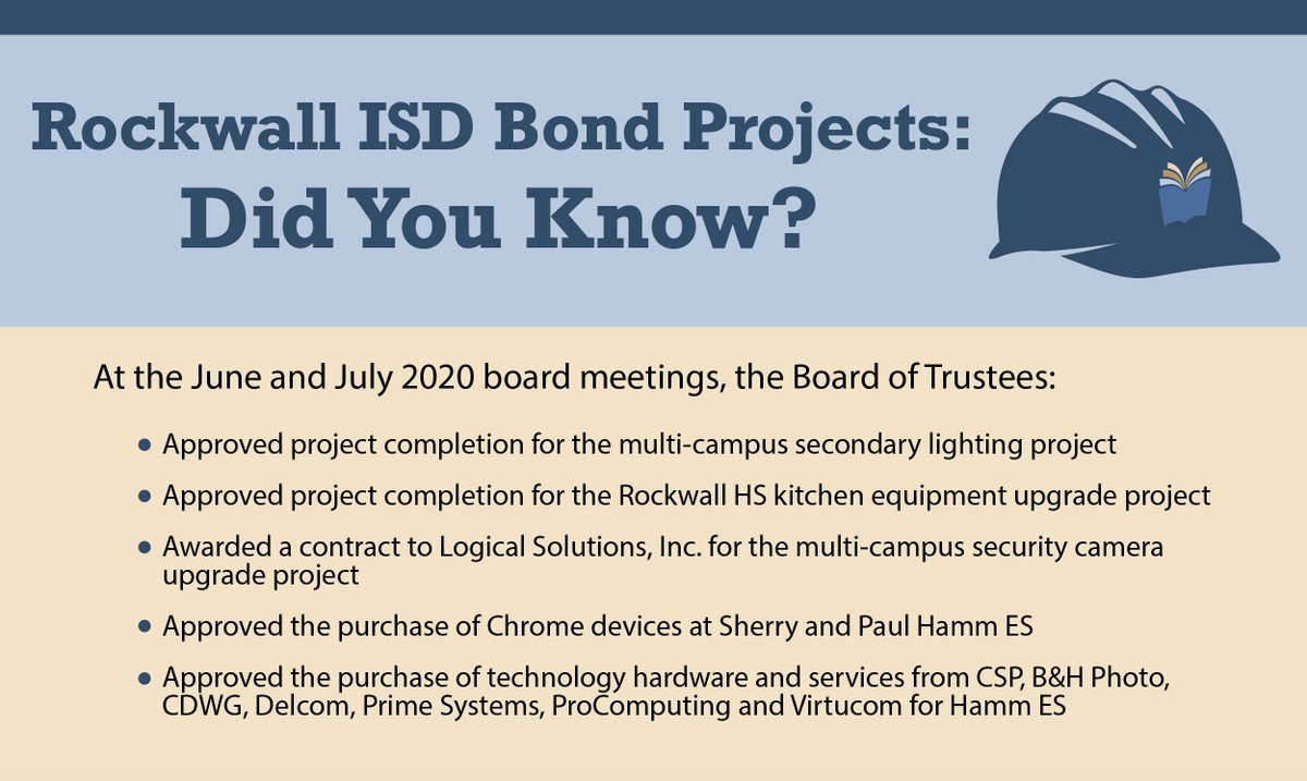 Did you Know? Bond updates from June and July 2020 Board Meetings.