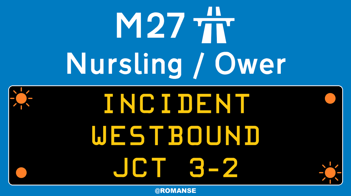 #M27 Westbound - Two lanes BLOCKED due to RTI between J3/#M271 and J2/#A36 #Ower, heavy delays on approach.