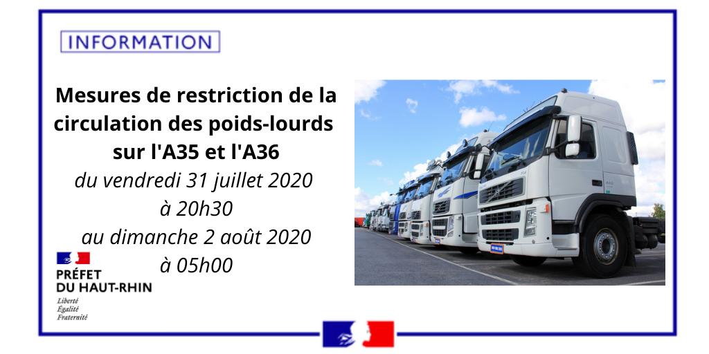[#Trafic]  🚚 🚛 Fête nationale suisse : mesures de restriction de la circulation des poids-lourds #PL sur l'#A35 et l'#A36. Toutes les informations 👉
