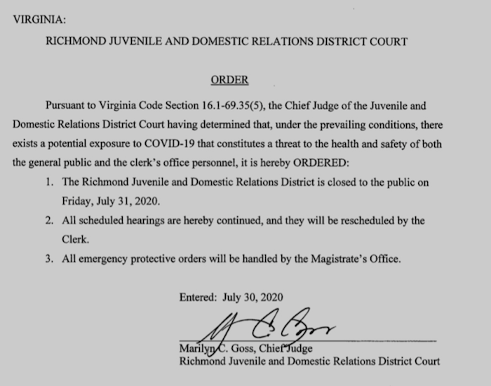 CITY SERVICES CHANGE: The Richmond Juvenile and Domestic Relations Court will be closed to the public today, Friday July 31. All scheduled hearings are continued and will be rescheduled.