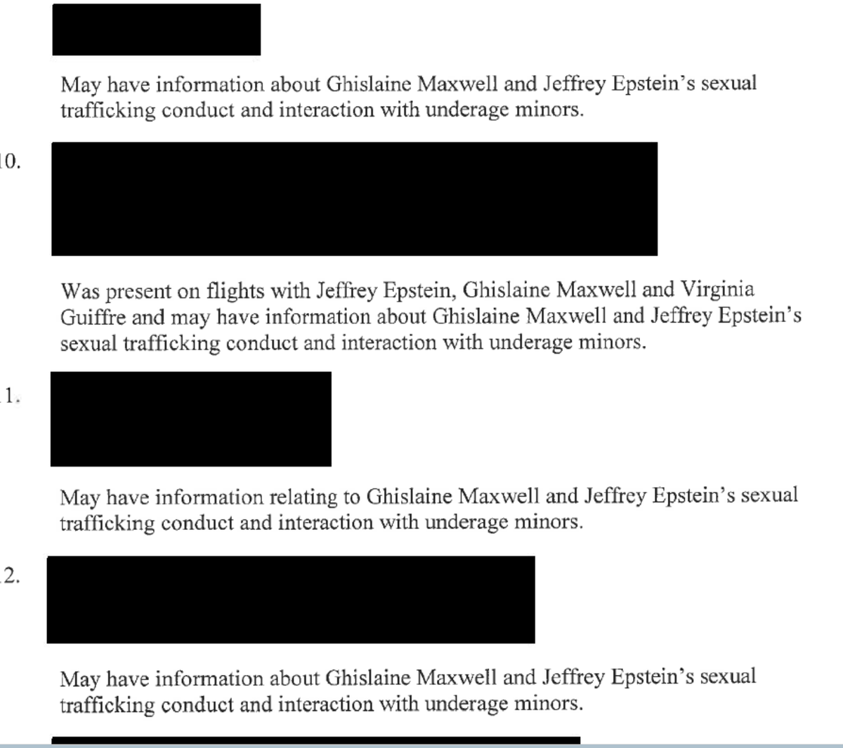 NEW: What's most newsworthy about this release of documents is how much of it is still sealed and hidden from public scrutiny. Here are the names of people who may have info about Epstein's sex trafficking. All of them are blacked out.