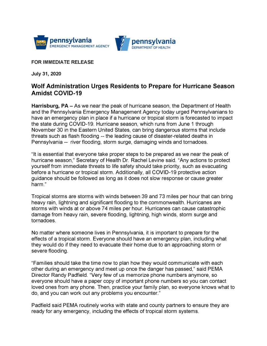 Wolf Administration Urges Residents to Prepare for Hurricane Season Amidst COVID-19