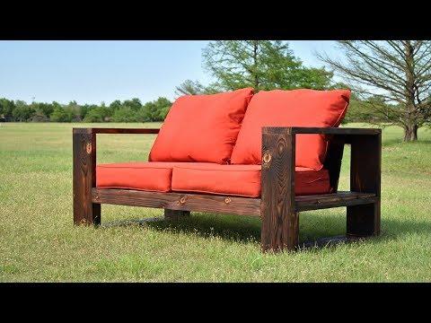 DIY Modern Outdoor Sofa - Shou Sugi Ban | Limited Tools | Free Plans -...
