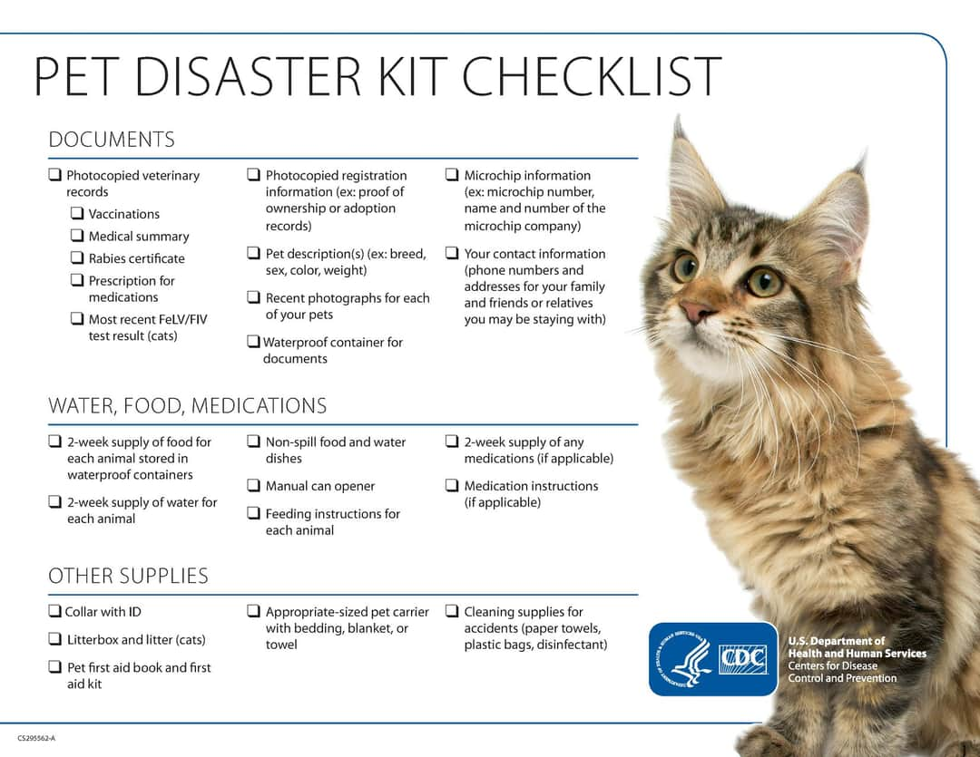 As we watch the tropics, it's a good time to remind everyone of the importance of #PetPreparedness. Visit  to download checklists for your pets or use the attached graphics to build your pet disaster kit.